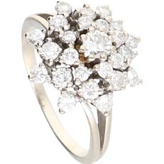 14 kt - White gold rosette ring set with 25 round brilliant cut diamonds of 0.87 ct in total. NO RESERVE - Ring size: 17.25 mm