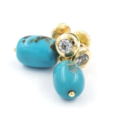 18 kt yellow gold - Earrings - Turquoises - Earring height: 18.25 mm