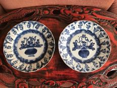 Blue white porcelain plates - China - early 18th century (Kangxi period)