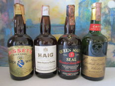 4 bottles - 1970's - Haig golden label 75 cl – Bisset's golden label 75 cl – Catto de luxe quality 75 cl – Queen Marys Seal 5 years 75 cl