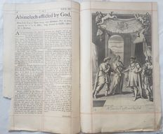 "2 prints by Johannes ""Jan"" Kip (1652/53, Amsterdam – 1722, Westminster) - Test sheet, Ishmael driven out Abimelech afflicted by God- 18th century"