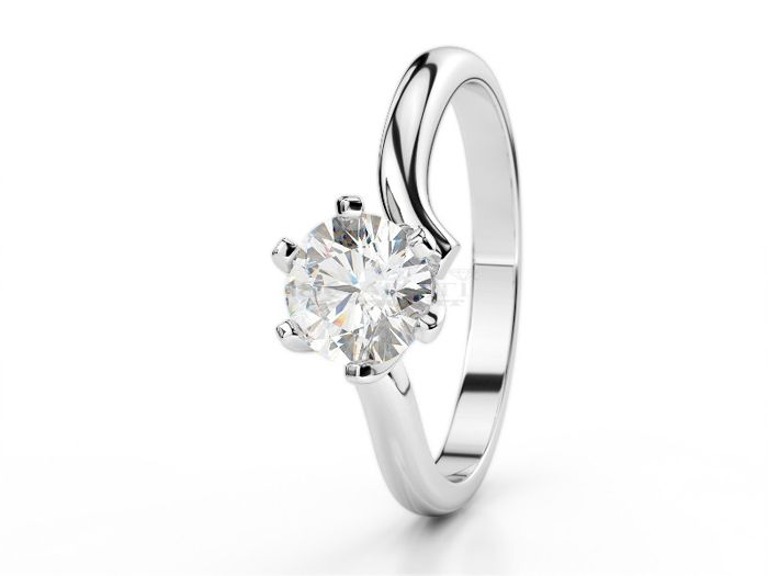 Solitaire ring in 18 kt white gold with 0.25 ct diamond, size 15