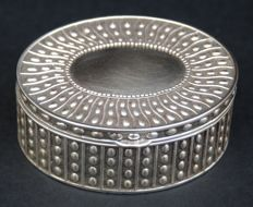 Antique Silver Plated Oval Jewelry Box, European, Early 20th Century