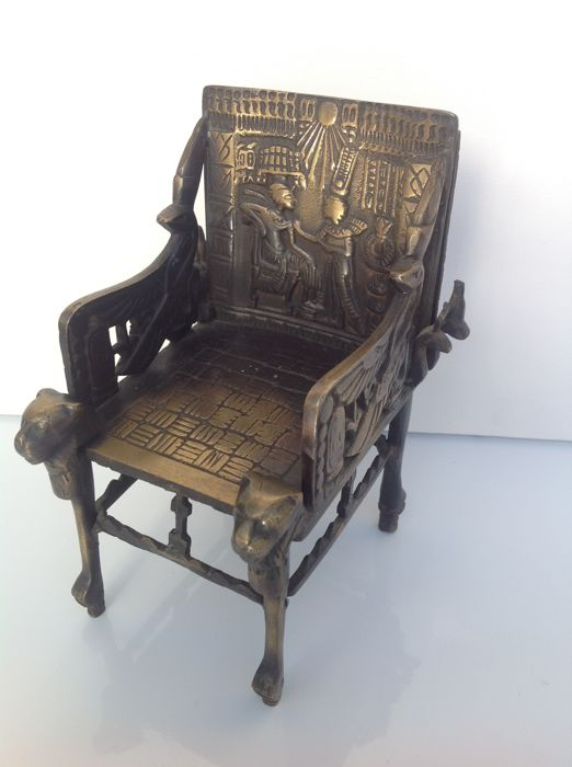 Bronze Egyptian Ceremonial Chair Of Tutankhamun   On Scale