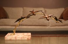 J. Pittois (20th century) - Bronze Art Deco sculpture with birds