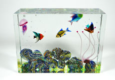 Diego Costantini (Murano) - Aquarium, 4 fish + 1 jellyfish