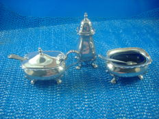 3-piece sterling silver set by Walker & Hall