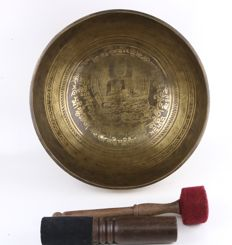 Large hand-hammered singing bowl - Nepal - late 20th century