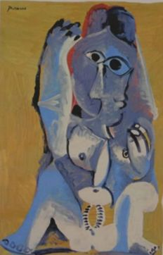 Pablo Picasso (after) - Zittend Naakt