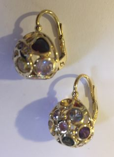 Gold earrings set with synthetic spinels in various colours, Italy c. 1960