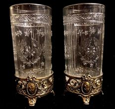A , late 19th Century , pair of , Louis XVI style , french , glass and gilt metal , elegant vases