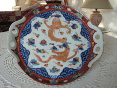 Large plate with dragon decoration - Japan - mid 20th century