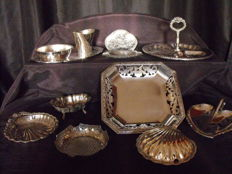 Several silver plated objects