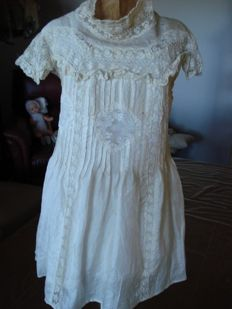 Unique and very beautiful antique silk doll dress -brocante finished - cream colour - 1800s - France - used good condition