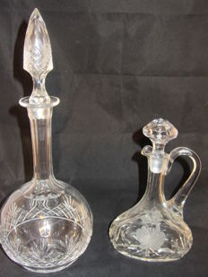 Cut decanter 2 pieces of cut glass or crystal