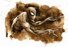 Spiderman II - Original Coffee Drawing By Juapi