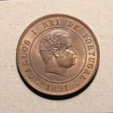 Portugal Monarchy – D. Carlos I – 20 Réis 1891 – Copper
