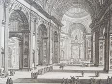 Johan Christian Jacob Friedrich (1746-1813) after designs by Piranesi - Veduta Interna della Basilica di S. Pietro in Vaticano - 18th century