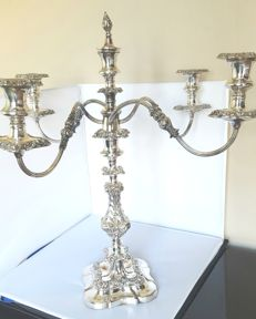 Large, English, silver plated, 5 armed candle stand. Unmarked