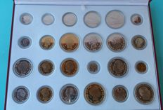 History of the peseta: 24 Coins of silver and gold plating by the Spanish Mint House with case + certificate