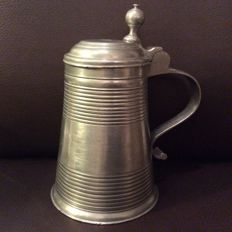 Pewter lidded jug (deckel humpen) from Eggenfelden - South Bavaria - Tin smith Valentin A Lipp - c. 1800