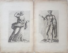 2 prints by probably Jan de Bisschop Johannes Episcopius (1628–1671) - 17th 18th century