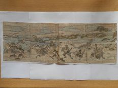 Set of four pages of an illustrated book (ehon) - attributed to Kitao Masayoshi (1764-1824) - 'The Battle of Ichi no Tani' - Japan - approx. 1800-20