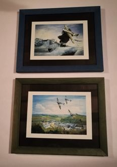 2 stunning prints of works by Allan Edgar O'Mill, with WWII hunter.
