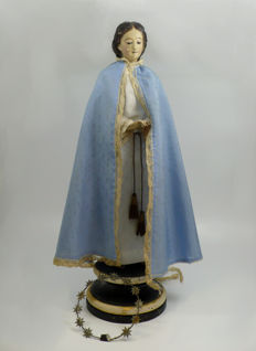 Virgin carving in polychromed wood with silk dress - 19th century