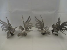 Two beautiful silver plated table pieces each consisting of two fighting cocks