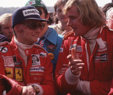 1976 Niki Lauda and James Hunt  Colour  Photograph 54cm x44cm