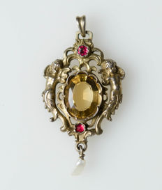 Antique silver pendant with stones and pearl, gold-plated