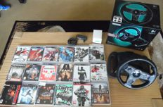 Lot 18 PS3 Games including Driving Force Wireless in box. Games like Portal 2 + Sniper and more