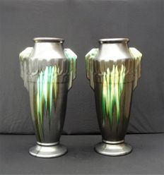 Faïenceries de Thulin - Two large Art Deco vases with dripping glaze
