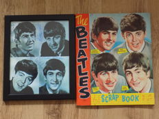 "The Beatles original Nems scrap book from the 1960""s , full with original cuttings & The Beatles framed print with printed signatures."