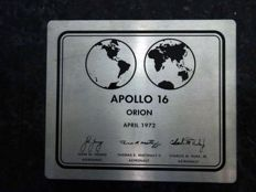 Rare Apollo 16 plaque - like the mounted one on LEM Orion