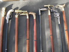 Lot with canes, 9 pieces of which 3x bronze and 5x metal and 1x resin.. collectable collection
