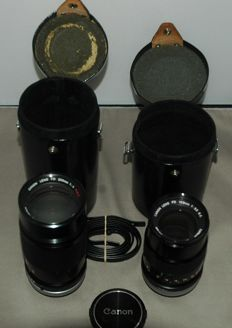 2 x Canon zoom lens - FD 80 - 200 1:4 and FD 135 1:3.5 plus bags and 1 strap