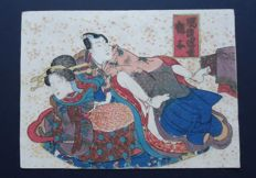 "Colour woodblock print by an artist from the Utagawa school - ""Love couple"" - Japan - around 1850"