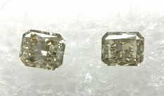 Couple of 2 Radiant cut diamonds total 1.18 ct F.L. Grayish Greenish Yellow VS-SI  -No Reserve