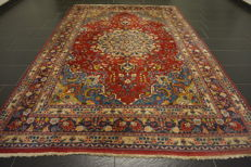 Exclusive hand-knotted Persian palace carpet old flowers  Lavar Kerman patina  200X295 cm carpet