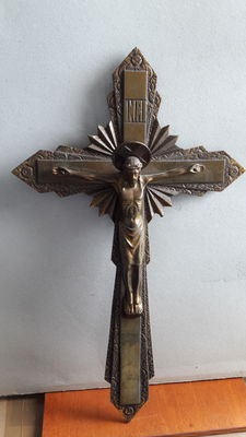 Two Christian devotional crucifixes, one in French style and made of bronze and copper; one Italian with gilded cross and silver plated crucifix