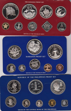 Bahamas, Barbados and Philippines - Coin set 1978, 1979 en 1980 (3 different packs)