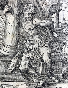 "Master ""G.S"" (c. 1550). Samson Destroying the Temple, c. 1550"
