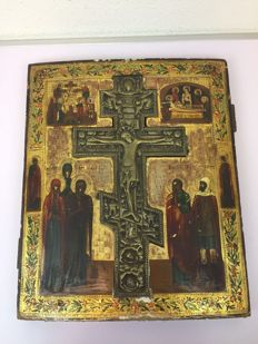 "Russian icon with a recessed bronze ""blessings cross"" (Reliquary of the True Cross) - Russia - 19th century"