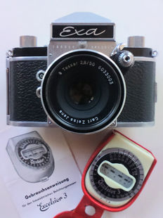Exa Ihagee Dresden SLR 35 mm film camera - Carl Zeiss Jena Tessar 2.8/50 + light meter Excelsior