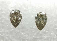 Couple of 2 Pear cut diamonds total 0.40 ct F.L. Brownish Gray / Grayish Brown VS1-VS2  -No Reserve