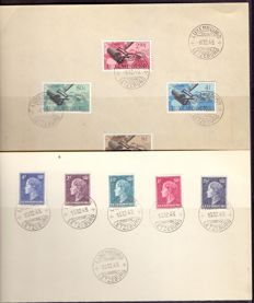 Luxembourg 1948/1959 - First Day Sheets, Special seals, Entire series, Airmail on sheets