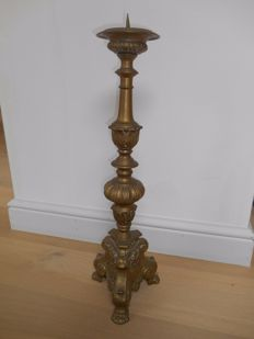 Large bronze candlestick in baroque style - 19th century