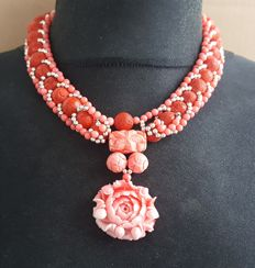 925 silver pink and red coral carved necklace with flower pendant - 42cm
